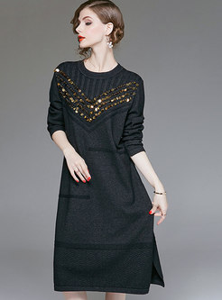 Autumn Black Knitted Self-tie Bottoming Dress