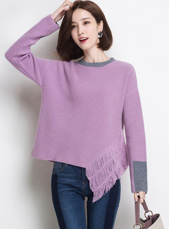 Chic Color-blocked Loose Tassel Pullover Sweater