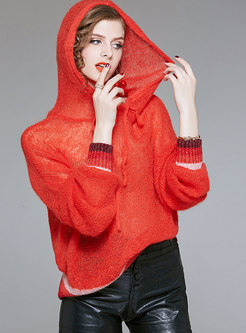 Stylish Mohair Hooded Drawstring Knitted Hoodies