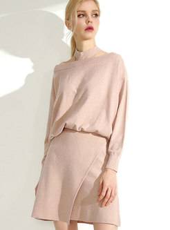 Chic Solid Color Wool Top & Wrap Mini Knitted Skirt