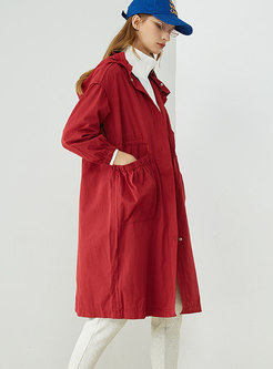 Stylish Hooded Drawstring Gathered Waist Trench Coat