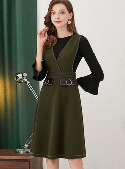 Brief Black Flare Sleeve Top & Green Strap A Line Dress