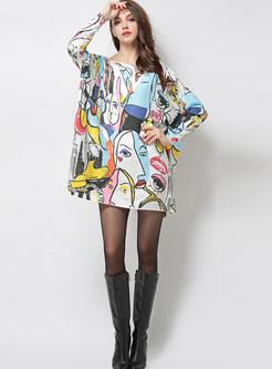 Slash Neck Plus Size Character Print Sweater