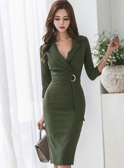 Work Notched Three Quarters Sleeve Slim Bodycon Dress