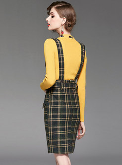 Elegant O-neck Bowknot Slim Sweater & Plaid High Waist Slit Suspender Skirt