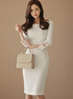 Elegant Solid Color O-neck Slim Bodycon Dress