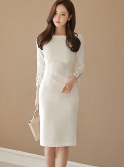 Elegant Solid Color O-neck Slim Bodycon Dress