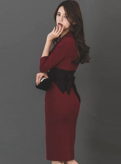 Turn Down Collar Color-blocked Tied-waist Bodycon Dress