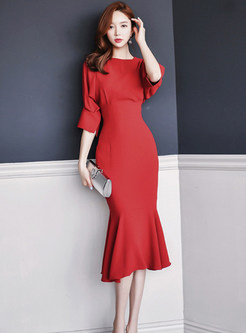Red O-neck Half Sleeve Sheath Falbala Dress