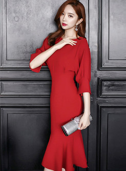 Red Crew Neck Half Sleeve Sheath Cocktail Dress