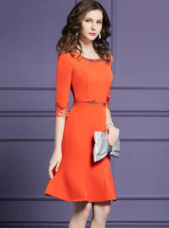 Pure Color Drilling Gathered Waist Slim Mermaid Dress
