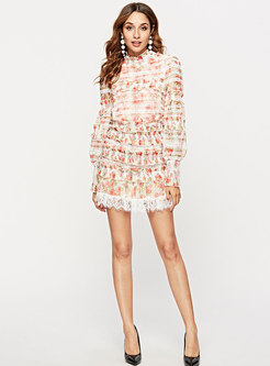 Chic Print Splicing Ruffled Collar Top & High Waist Layered Skirt