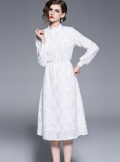 Brief White Standing Collar High Waist Dress
