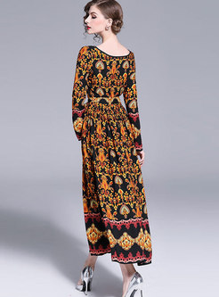 Vintage Crew-neck Printed Plus Size Maxi Dress