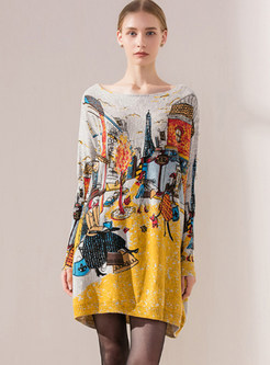 Trendy Bat Sleeve Pullover Print Sweater