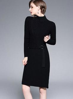 Winter High Neck Belted Mid Waist Knitting Dress