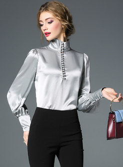 Brief Solid Color Stand Collar Zipper Blouse