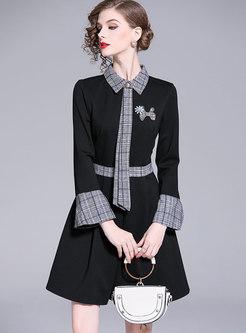 OL Black Shirt Collar Plaid Patch A Line Dress