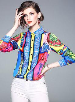 Stylish Turn-down Collar Printed Slim Blouse
