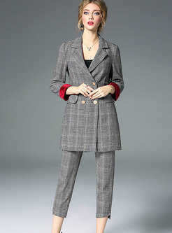 Vintage Plaid Splicing Blazer & High Waist Asymmetric Slim Pants