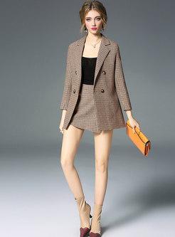 Stylish Grid Double-breasted Slim Blazer & Grid Shorts