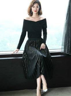 Brief Gold Velvet Pleated A Line Skirt