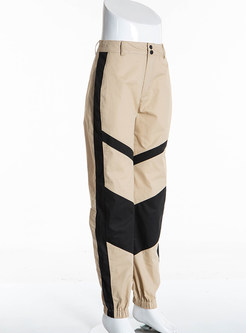 Casual High Waist Color-blocked Long Pants