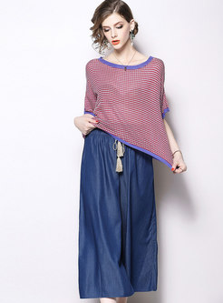 Elegant Short Sleeve Knitted Top & High Waist Wide-leg Pants