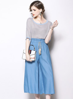 Elegant Short Sleeve Knitted Top & High Waist Wide-leg Pants