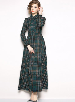 Fashion Turn-down Collar Dots Big Hem Maxi Dress