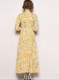 Sweet Turn-down Collar Printed Maxi Dress