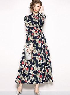Fashion Mid Waist All Over Print Maxi Dress