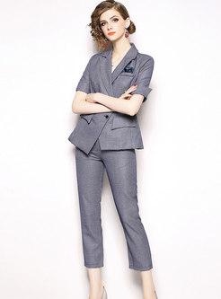 Lapel Slim Blazer & Solid Color Pencil Pants