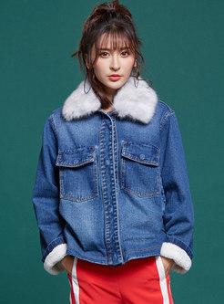 Blue Fur Collar Denim Thick Coat