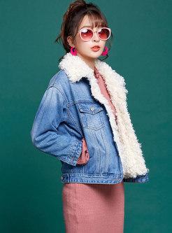 Deep Blue Denim Fur Collar Single-breasted Coat