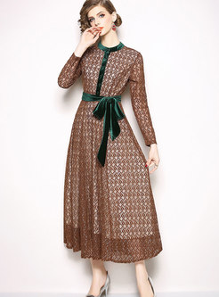 Lace Openwork Long Sleeve Maxi Dress