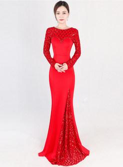 aef5821b68b4 ... O-neck Long Sleeve Beaded Plaid Splicing Slim Dress ...