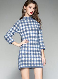 Stylish Blue Casual Straight Grid Knitting Dress