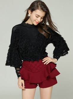 Lace Splicing Hollow Out Beaded Knitted Sweater