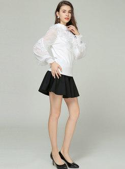 White Splicing Lantern Sleeve Falbala Knitted Sweater