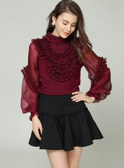 Wine Red Mesh Splicing Lantern Sleeve Falbala Sweater