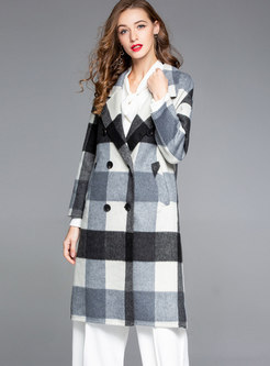 Double-sided Loose Plaid Wool Peacoat