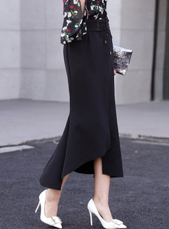 Tie-waist Asymmetric Bodycon Mermaid Skirt