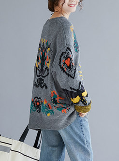 Stylish Embroidery O-neck Knitted Sweater