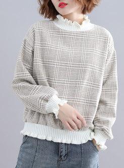 Chic Grid Ruffled Collar Splicing Sweater