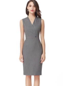 Fashion V-neck Sleeveless Bottoming Sheath Dress