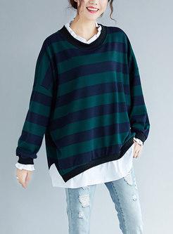 Chic Striped Splicing Ruffled Collar Asymmetric Sweatshirt
