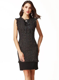 Fashion Sleeveless Plaid Zipper Mid Waist Bodycon Dress