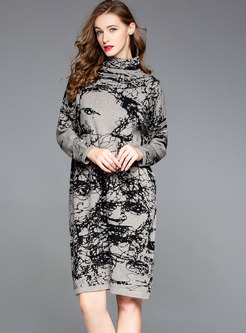 Stylish High Neck Stitching Loose Knitted Dress