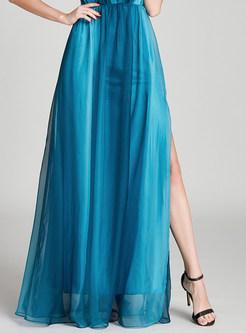 Deep V-neck Color-blocked Slit Chiffon Prom Dress